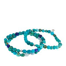 Jay King Chilean Turquoise and Gemstone Set of 3 Stretch Bracelets