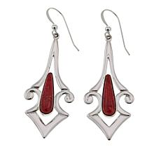 Jay King Contemporary Red Coral Sterling Silver Drop Earrings
