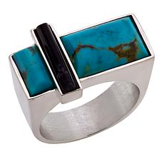 Jay King Contemporary Turquoise and Amethyst Sterling Silver Ring