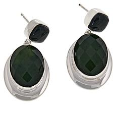 Jay King Dark Green Nephrite Jade Drop Sterling Silver Earrings