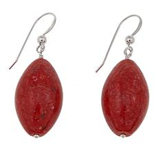 Jay King Freeform Red Coral Sterling Silver Drop Earrings