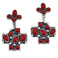 Jay King Gallery Collection Red Coral Multi-Stone Cross Drop Earrings