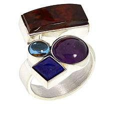 Jay King Gallery Collection Sterling Silver Multi-Color Multi-Gem Ring