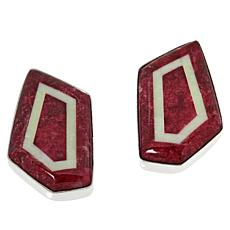 Jay King Gallery Collection Thulite & Meadow Stone Geometric Earrings