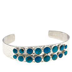 Jay King Gold-Color Matrix Turquoise Hammered Cuff Bracelet