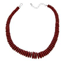 "Jay King Graduated Red Coral Disc 18-1/4"" Sterling Silver Necklace"