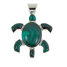 Jay King Green Malachite Turtle Sterling Silver Pendant