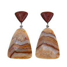 Jay King Java Lace Agate and Red Opal Drop Earrings