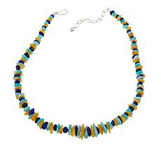 "Jay King Lapis, Amber and Amazonite Bead 18"" Sterling Silver Necklace"