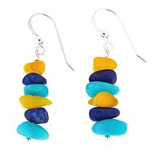 Jay King Lapis, Amber and Amazonite Bead Drop Earrings