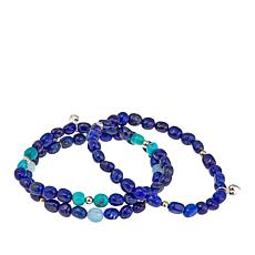 Jay King Lapis and Gemstone  Set of 3 Stretch Bracelets