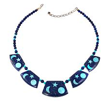 "Jay King Lapis and Turquoise Reversible 20"" Necklace"