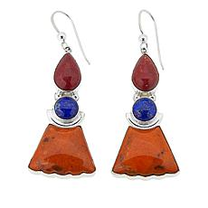 Jay King Lapis, Red and Orange Coral Drop Sterling Silver Earrings