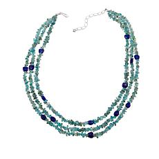 "Jay King Layered Apatite and Lapis Bead 18"" Sterling Silver Necklace"