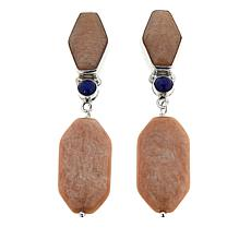Jay King Madagascar Peach Stone and Lapis Drop Earrings