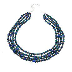 "Jay King Malachite, Lapis and Garnet 4-Strand 18"" Necklace"