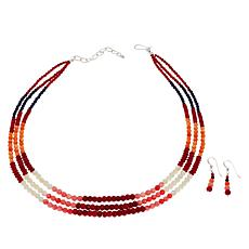 Jay King Multi-Color Coral and Lapis Bead Necklace and Earring Set
