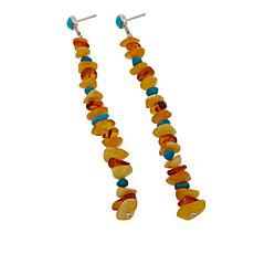 Jay King Multicolor Amber and Turquoise Chip Drop Earrings