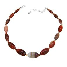 """Jay King Multicolored Chalcedony Bead 18"""" Sterling Silver Necklace"""