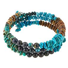 Jay King Multicolored Turquoise and Gem Sterling Silver Coil Bracelet