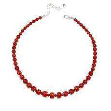 "Jay King Orange Coral Bead 18"" Sterling Silver Necklace"