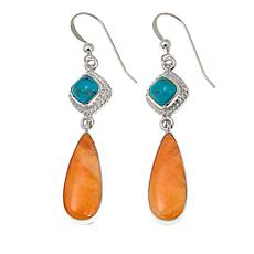 Jay King Orange Spiny Oyster Shell and Turquoise Drop Earrings
