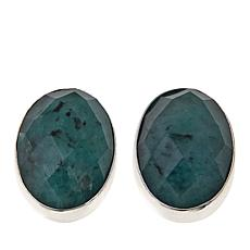 Jay King Oval Emerald Sterling Silver Button Earrings
