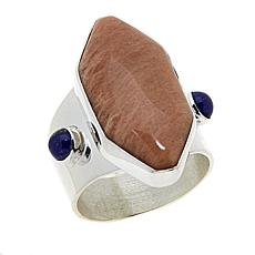 Jay King Peach Stone and Lapis Sterling Silver Ring