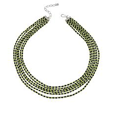 Jay King Peridot and Black Spinel Bead 6-Strand Necklace