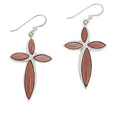 Jay King Pink Guadelajara Imperial Stone Cross Earrings