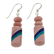 Jay King Pink Opal Multigem Inlay Drop Sterling Silver Earrings