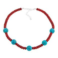 "Jay King Red Coral and Turquoise Bead 18-1/4"" Necklace"
