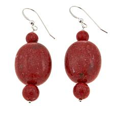 Jay King Red Coral Bead Drop Sterling Silver Earrings