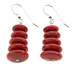 Jay King Red Coral Disc Bead Drop Sterling Silver Earrings