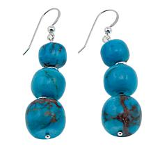 Jay King Redskin Turquoise Bead Drop Sterling Silver Earrings