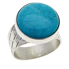Jay King Round Cloudy Mountain Turquoise Etched Band Ring