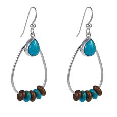 Jay King Seven Peaks Turquoise Blue and Brown Rondelle Drop Earrings
