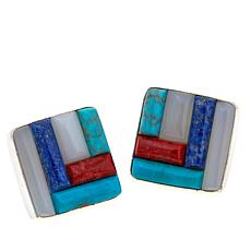 Jay King Square Multigem Inlay Sterling Silver Earrings