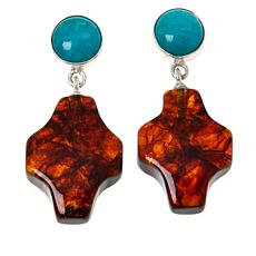 Jay King Sterling Silver Amazonite and Amber Cross Drop Earrings
