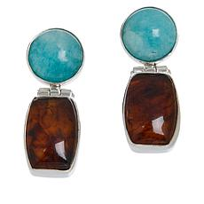 Jay King Sterling Silver Amazonite and Amber Earrings