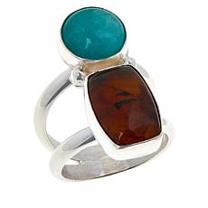 Jay King Sterling Silver Amber and Amazonite Ring