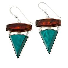 Jay King Sterling Silver Amber and Malachite Drop Earrings