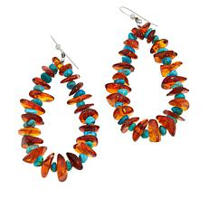 Jay King Sterling Silver Amber and Turquoise Wire Drop Earrings