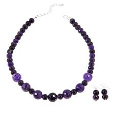 Jay King Sterling Silver Amethyst Bead Necklace and Earrings Set