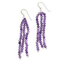 Jay King Sterling Silver Amethyst Bead Tassel Earrings