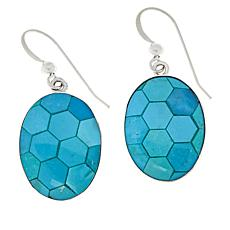 Jay King Sterling Silver Andean Blue Turquoise Inlay Drop Earrings