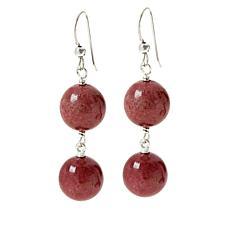 Jay King Sterling Silver Baroque Rose Rhodonite Drop Earrings