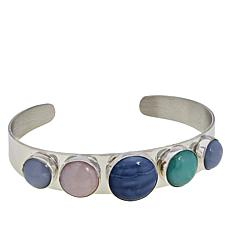 Jay King Sterling Silver Blue, Green and Pink Opal Cuff Bracelet