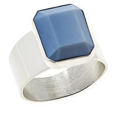 Jay King Sterling Silver Blue Opal Cushion-Cut Ring