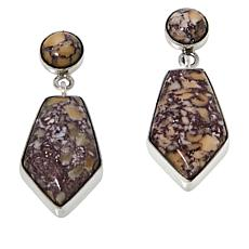 Jay King Sterling Silver Brecciated Tawny Port Stone Drop Earrings